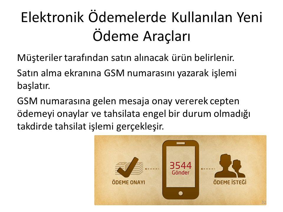 Elektronik Ödemelerde Kullanılan Yeni Ödeme Araçları Müşteriler tarafından satın alınacak ürün belirlenir. Satın alma ekranına GSM numarasını yazarak