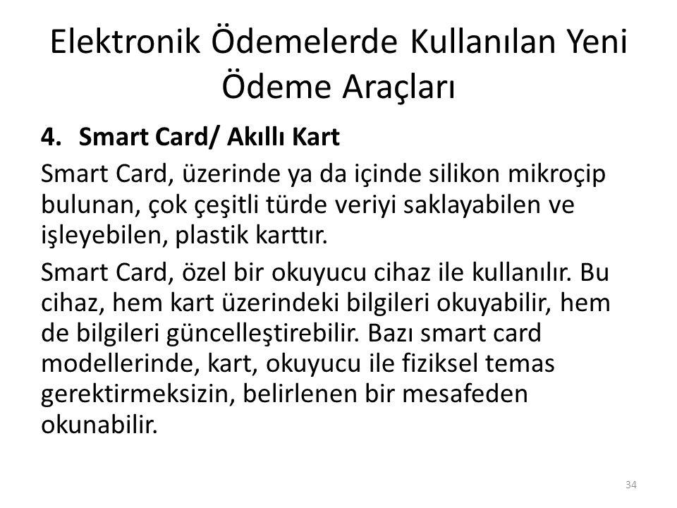 Elektronik Ödemelerde Kullanılan Yeni Ödeme Araçları 4.Smart Card/ Akıllı Kart Smart Card, üzerinde ya da içinde silikon mikroçip bulunan, çok çeşitli