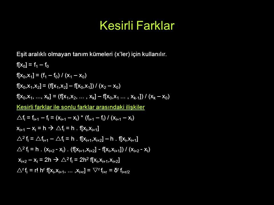 Kesirli Farklar Eşit aralıklı olmayan tanım kümeleri (x'ler) için kullanılır. f[x 0 ] = f 1 – f 0 f[x 0,x 1 ] = (f 1 – f 0 ) / (x 1 – x 0 ) f[x 0,x 1,