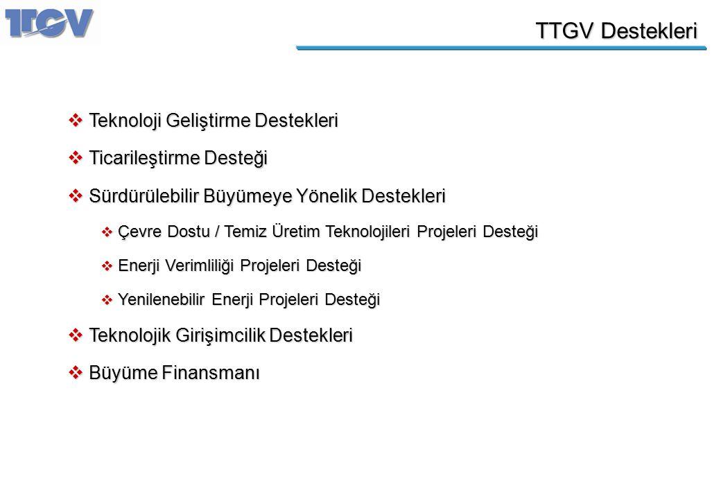 TTGV Destekleri  Teknoloji Geliştirme Destekleri  Ticarileştirme Desteği  Sürdürülebilir Büyümeye Yönelik Destekleri  Çevre Dostu / Temiz Üretim T