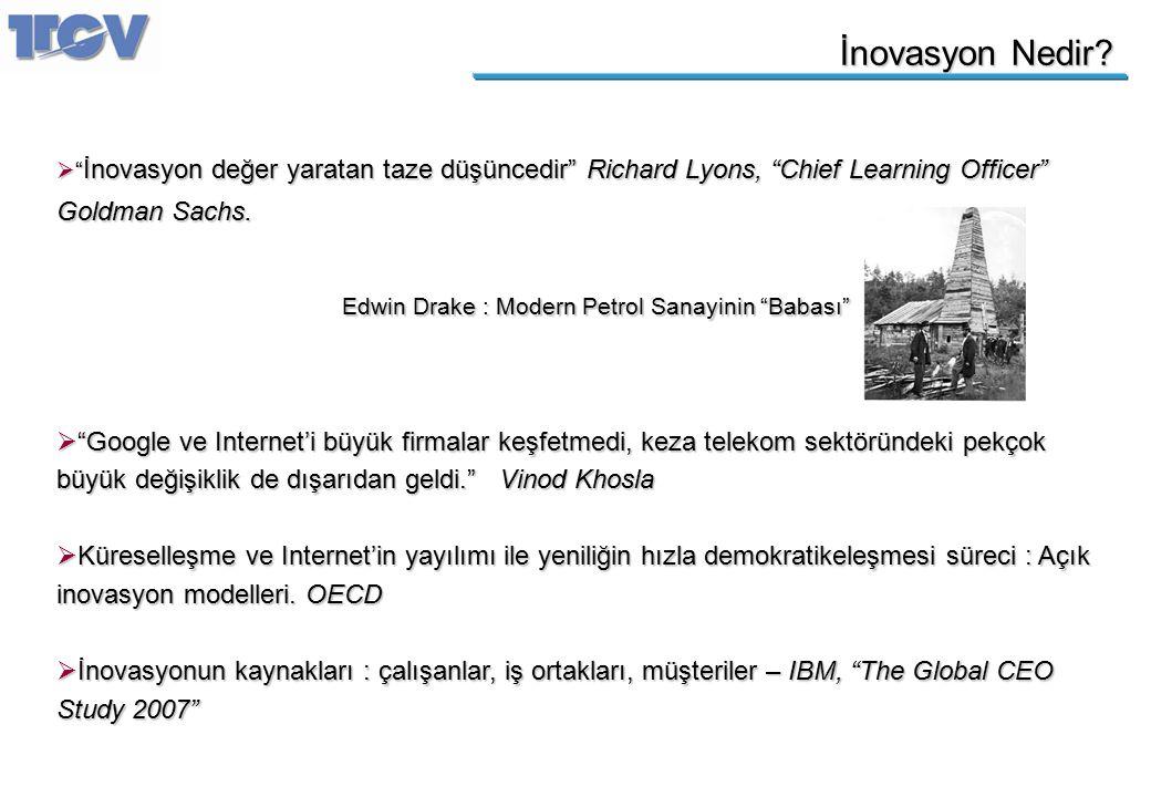 """İnovasyon Nedir?  """" İnovasyon değer yaratan taze düşüncedir"""" Richard Lyons, """"Chief Learning Officer"""" Goldman Sachs.  """"Google ve Internet'i büyük fir"""
