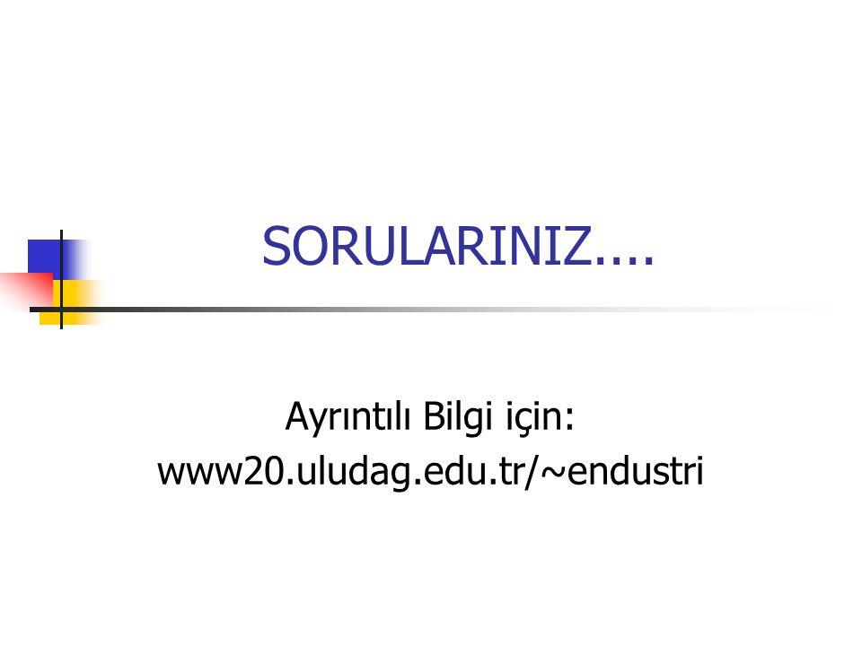 SORULARINIZ.... Ayrıntılı Bilgi için: www20.uludag.edu.tr/~endustri