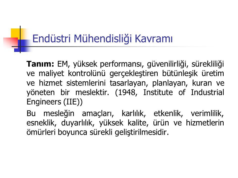 Endüstri Mühendisliği Kavramı Tanım: EM, yüksek performansı, güvenilirliği, sürekliliği ve maliyet kontrolünü gerçekleştiren bütünleşik üretim ve hizm