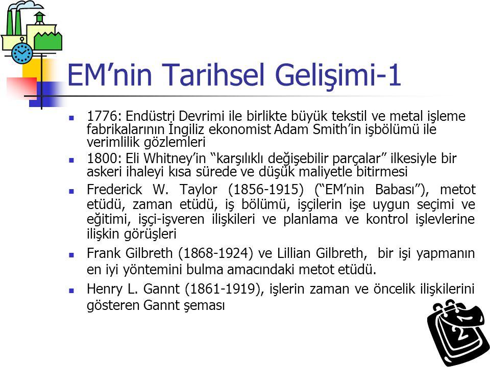 EM'nin Tarihsel Gelişimi-1 1776: Endüstri Devrimi ile birlikte büyük tekstil ve metal işleme fabrikalarının İngiliz ekonomist Adam Smith'in işbölümü i