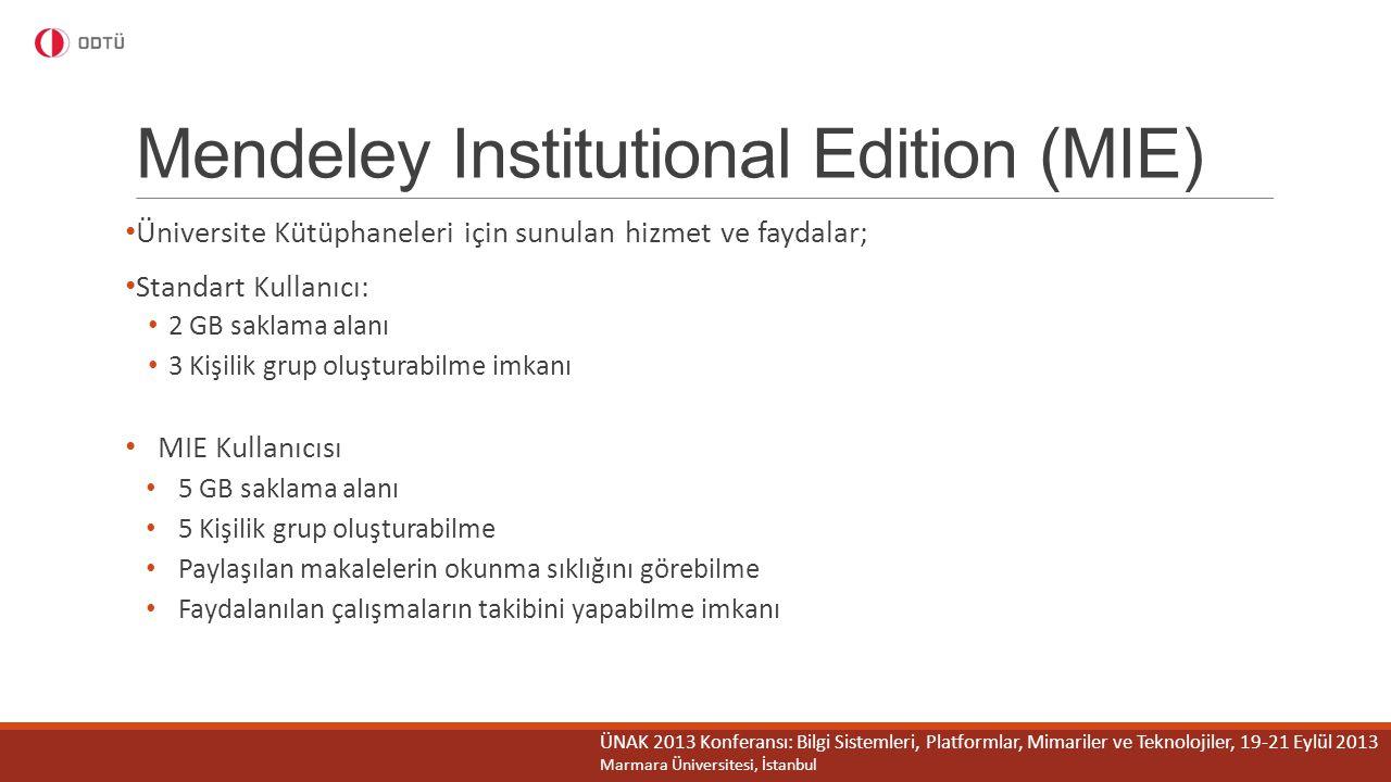 Mendeley Institutional Edition (MIE) Üniversite Kütüphaneleri için sunulan hizmet ve faydalar; Standart Kullanıcı: 2 GB saklama alanı 3 Kişilik grup o