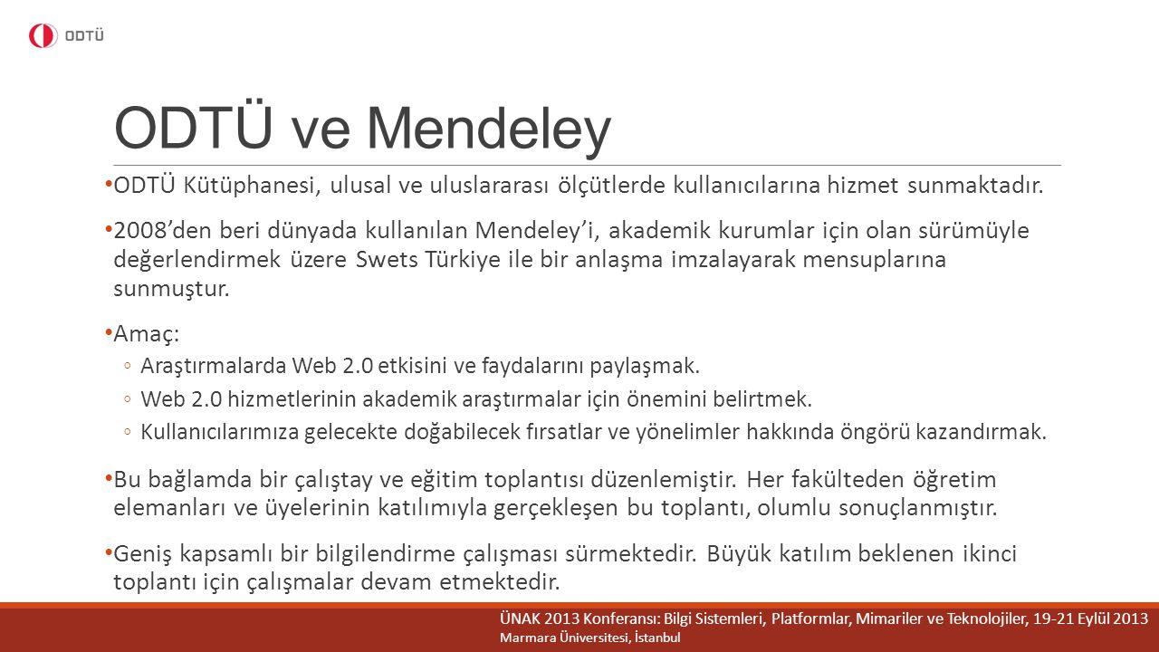ODTÜ ve Mendeley ODTÜ Kütüphanesi, ulusal ve uluslararası ölçütlerde kullanıcılarına hizmet sunmaktadır. 2008'den beri dünyada kullanılan Mendeley'i,