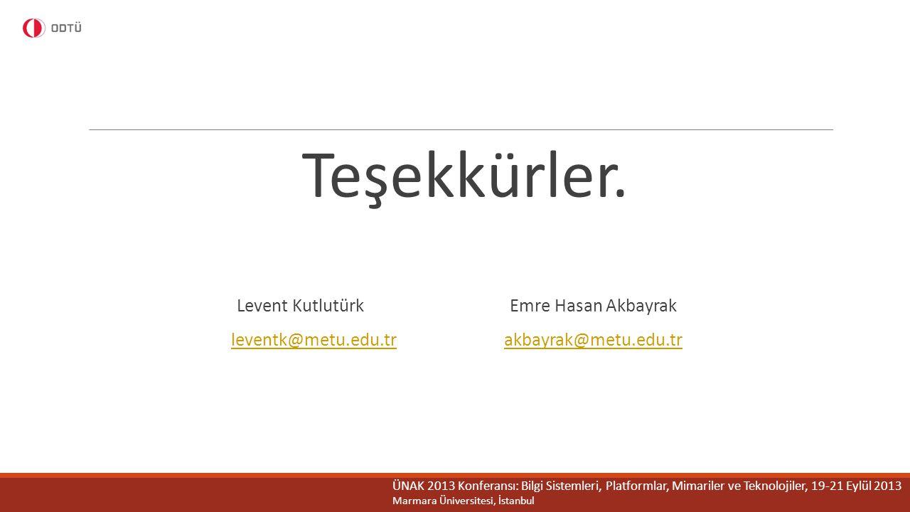 Teşekkürler. Levent Kutlutürk Emre Hasan Akbayrak leventk@metu.edu.trakbayrak@metu.edu.tr ÜNAK 2013 Konferansı: Bilgi Sistemleri, Platformlar, Mimaril