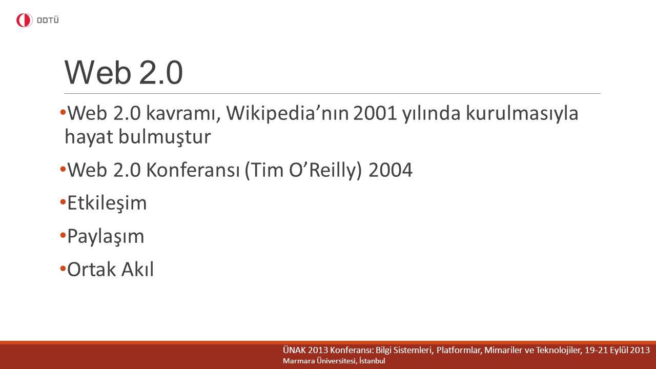 Web 2.0 Web 2.0 kavramı, Wikipedia'nın 2001 yılında kurulmasıyla hayat bulmuştur Web 2.0 Konferansı (Tim O'Reilly) 2004 Etkileşim Paylaşım Ortak Akıl
