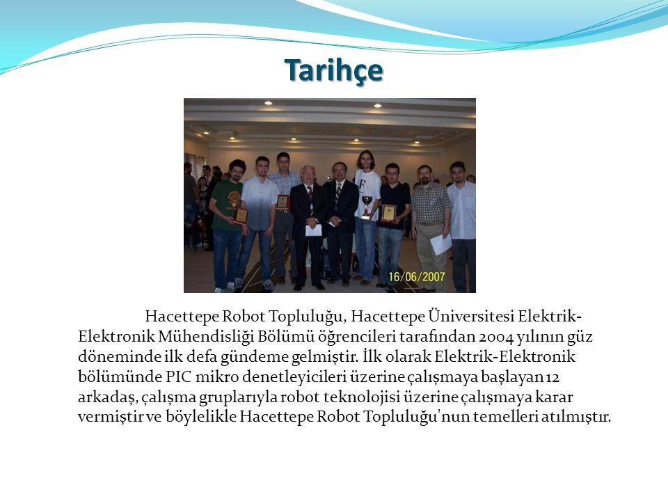 Tarihçe Hacettepe Robot Topluluğu, Hacettepe Üniversitesi Elektrik- Elektronik Mühendisliği Bölümü öğrencileri tarafından 2004 yılının güz döneminde i