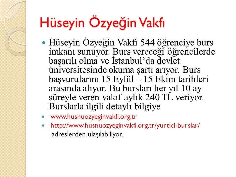 Hüseyin Özye ğ in Vakfı Hüseyin Özyeğin Vakfı 544 öğrenciye burs imkanı sunuyor. Burs vereceği öğrencilerde başarılı olma ve İstanbul'da devlet üniver