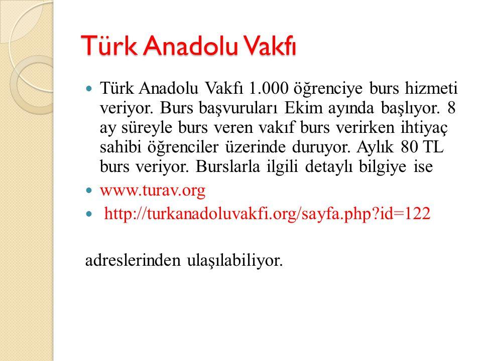 Türk Anadolu Vakfı Türk Anadolu Vakfı 1.000 öğrenciye burs hizmeti veriyor. Burs başvuruları Ekim ayında başlıyor. 8 ay süreyle burs veren vakıf burs