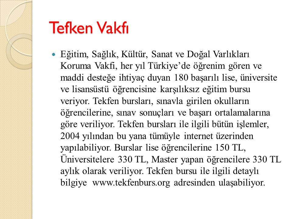 Tefken Vakfı Eğitim, Sağlık, Kültür, Sanat ve Doğal Varlıkları Koruma Vakfi, her yıl Türkiye'de öğrenim gören ve maddi desteğe ihtiyaç duyan 180 başar