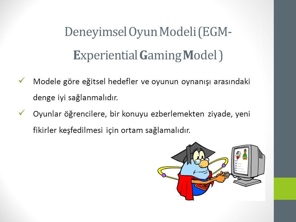Modele göre eğitsel hedefler ve oyunun oynanışı arasındaki denge iyi sağlanmalıdır.