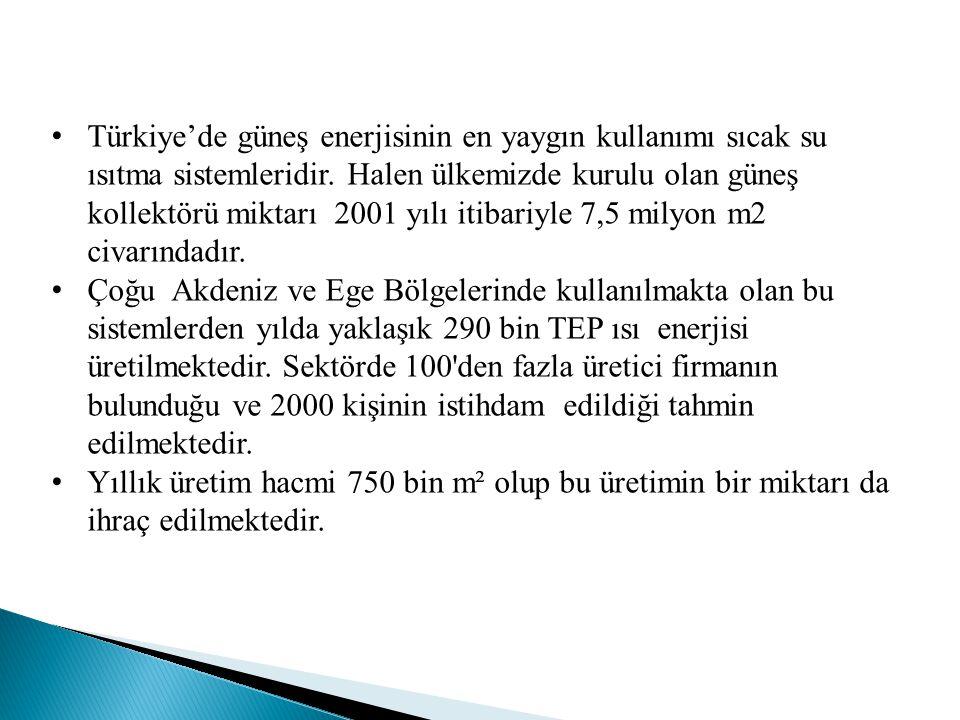 Türkiye'de güneş enerjisinin en yaygın kullanımı sıcak su ısıtma sistemleridir. Halen ülkemizde kurulu olan güneş kollektörü miktarı 2001 yılı itibari