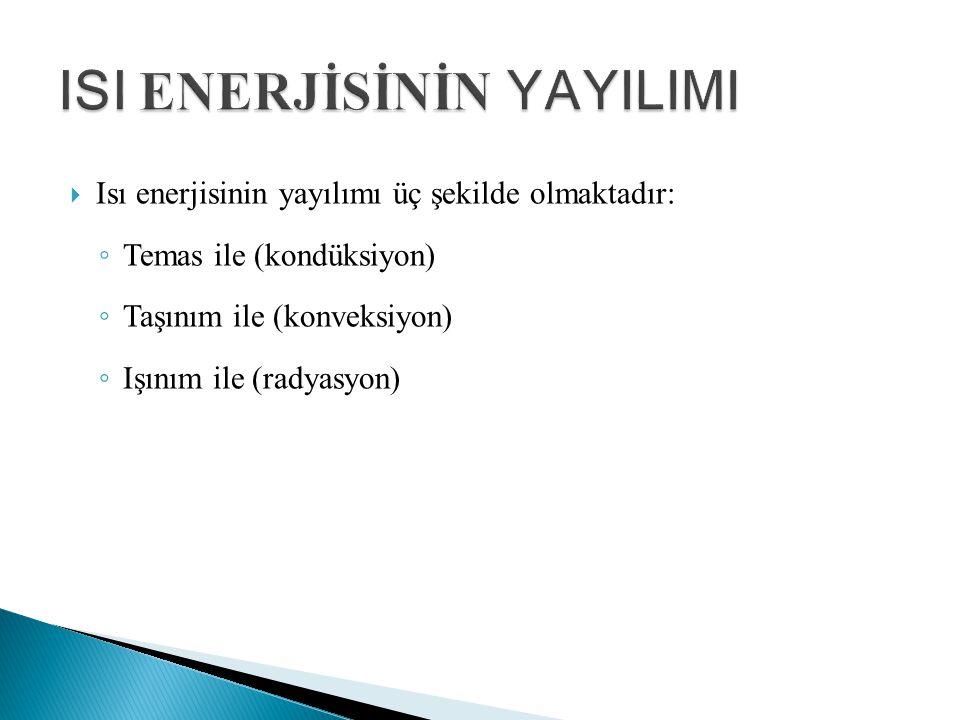  Isı enerjisinin yayılımı üç şekilde olmaktadır: ◦ Temas ile (kondüksiyon) ◦ Taşınım ile (konveksiyon) ◦ Işınım ile (radyasyon)