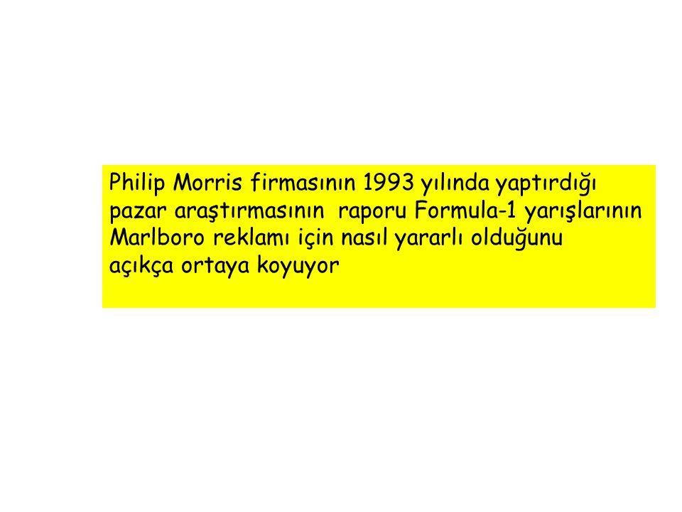 Philip Morris firmasının 1993 yılında yaptırdığı pazar araştırmasının raporu Formula-1 yarışlarının Marlboro reklamı için nasıl yararlı olduğunu açıkç