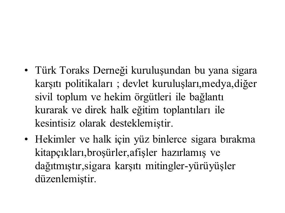 Türk Toraks Derneği kuruluşundan bu yana sigara karşıtı politikaları ; devlet kuruluşları,medya,diğer sivil toplum ve hekim örgütleri ile bağlantı kur