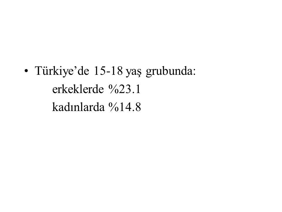 Türkiye'de 15-18 yaş grubunda: erkeklerde %23.1 kadınlarda %14.8