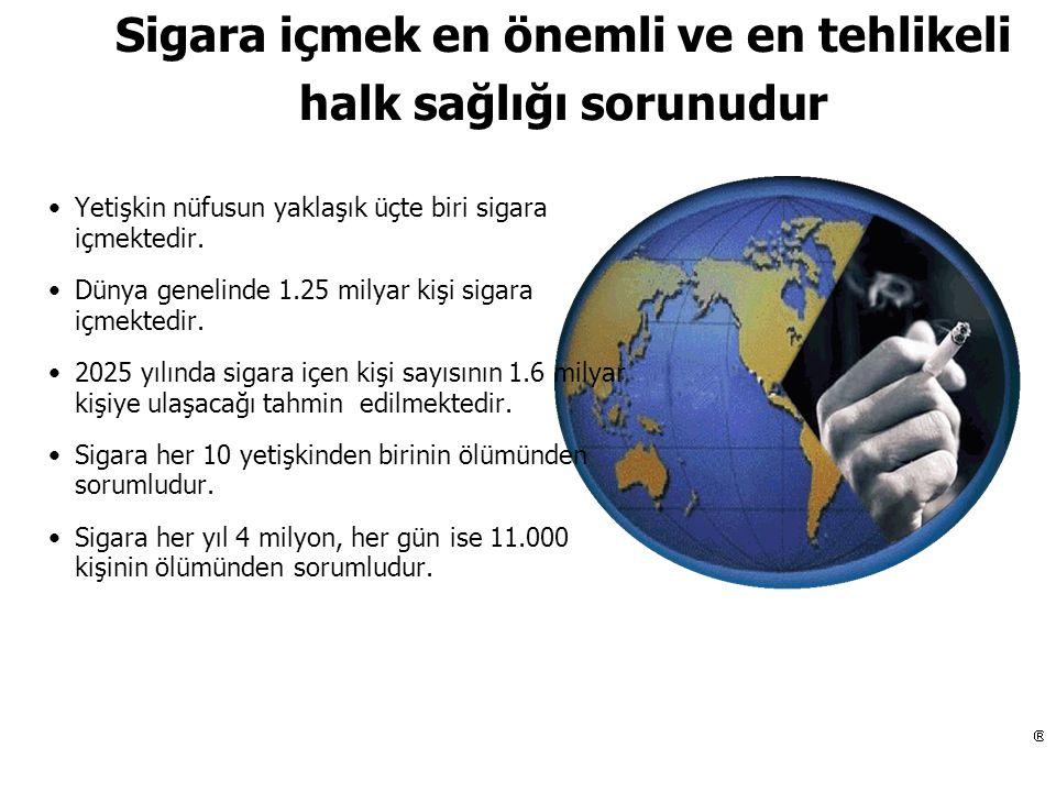 Türkiye'deki tütün ihracat firmaları 1970 59 1980 48 1990 30 1996 14 Türk sigaralarında kullanılan tütün miktarı ve tipi Rapor tahmin edilen (1000 ton) 1987 1996 2000 Amerikan tütünü - 38 66 Türk tütünü 60 52 44 Türkiye'ye sigara ithalatı 1984-1991 (1000 ton) 1984 1.80 1985 3.89 1986 7.05 1987 9.67 1988 8.90 1989 12.10 1990 15.70 1991 12.40