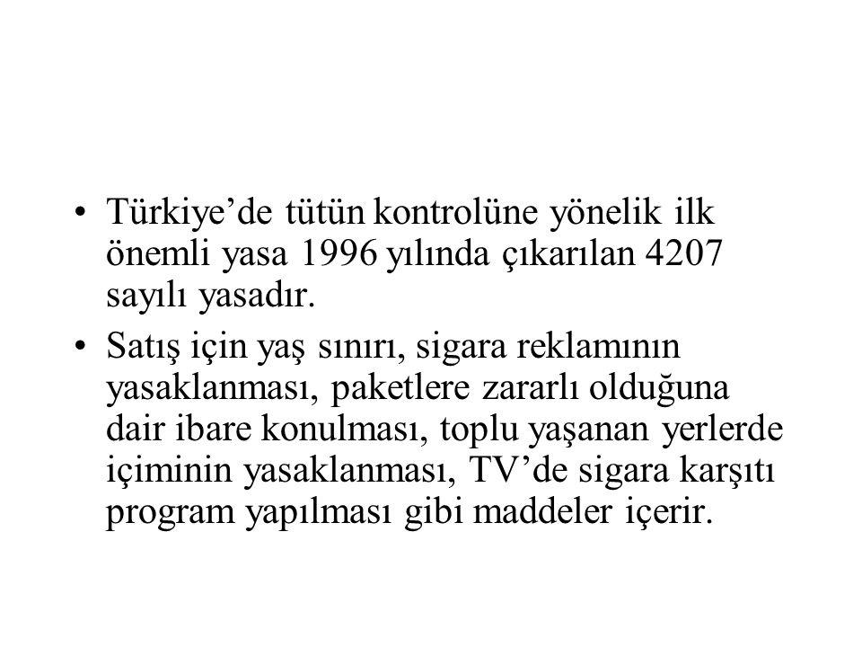 Türkiye'de tütün kontrolüne yönelik ilk önemli yasa 1996 yılında çıkarılan 4207 sayılı yasadır. Satış için yaş sınırı, sigara reklamının yasaklanması,