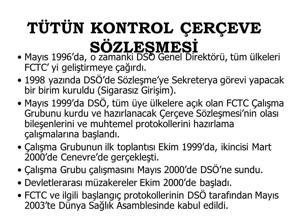 Mayıs 1996'da, o zamanki DSÖ Genel Direktörü, tüm ülkeleri FCTC' yi geliştirmeye çağırdı. 1998 yazında DSÖ'de Sözleşme'ye Sekreterya görevi yapacak bi