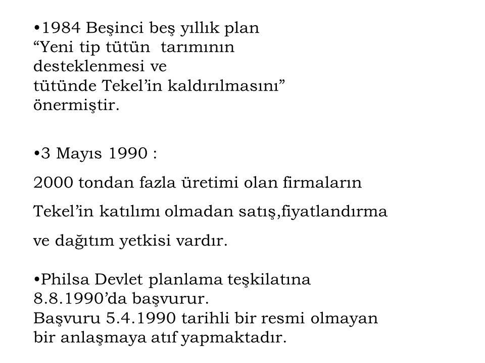"""1984 Beşinci beş yıllık plan """"Yeni tip tütün tarımının desteklenmesi ve tütünde Tekel'in kaldırılmasını"""" önermiştir. 3 Mayıs 1990 : 2000 tondan fazla"""