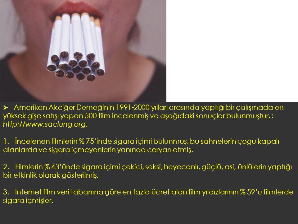  Amerikan Akciğer Derneğinin 1991-2000 yılları arasında yaptığı bir çalışmada en yüksek gişe satışı yapan 500 film incelenmiş ve aşağıdaki sonuçlar b