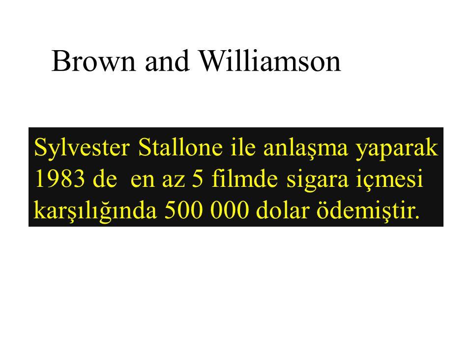 Brown and Williamson Sylvester Stallone ile anlaşma yaparak 1983 de en az 5 filmde sigara içmesi karşılığında 500 000 dolar ödemiştir.