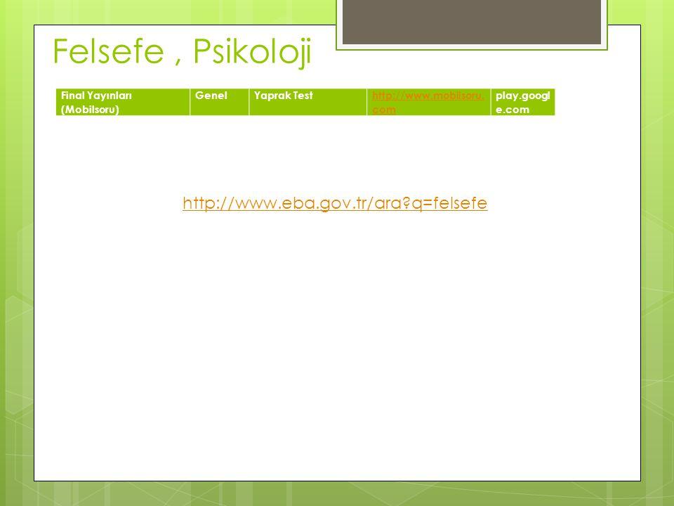 Felsefe, Psikoloji Final Yayınları (Mobilsoru) GenelYaprak Testhttp://www.mobilsoru. com play.googl e.com http://www.eba.gov.tr/ara?q=felsefe