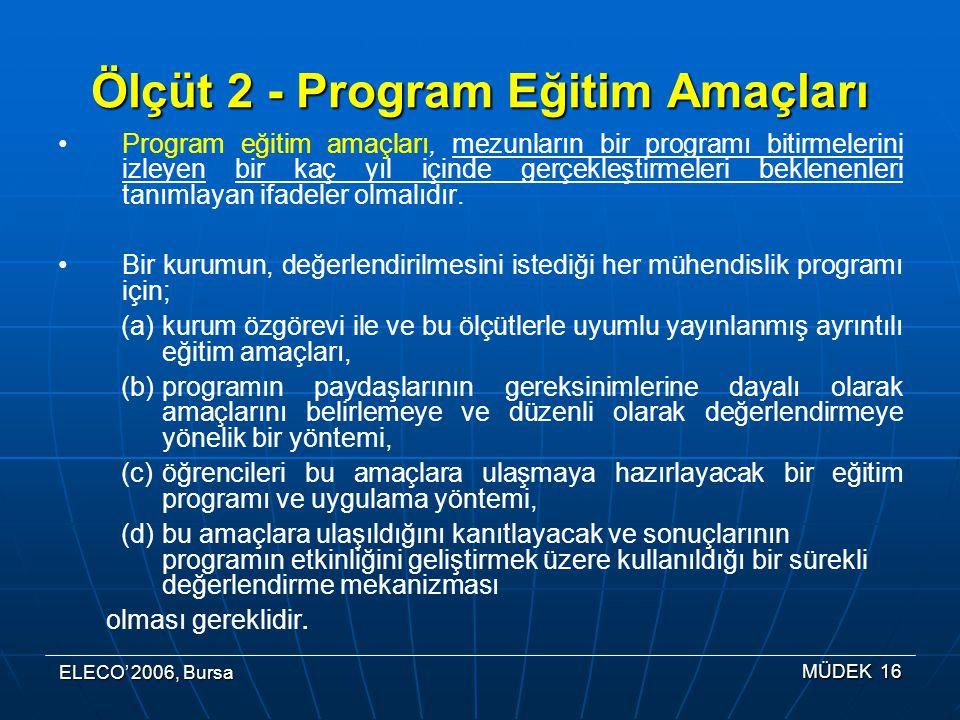 ELECO' 2006, Bursa MÜDEK 16 Ölçüt 2 - Program Eğitim Amaçları Program eğitim amaçları, mezunların bir programı bitirmelerini izleyen bir kaç yıl içinde gerçekleştirmeleri beklenenleri tanımlayan ifadeler olmalıdır.