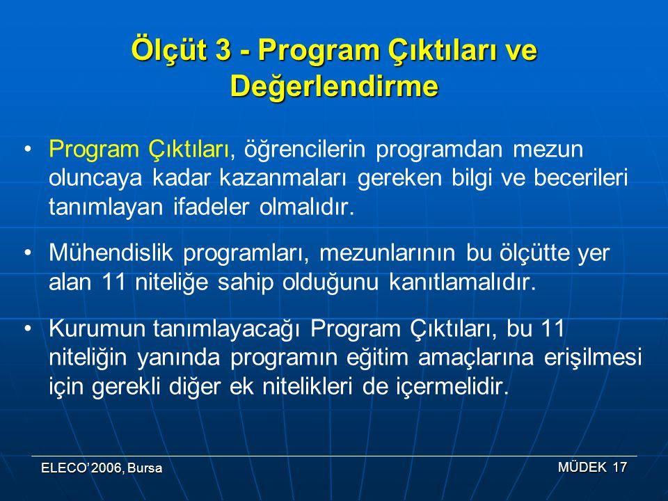 ELECO' 2006, Bursa MÜDEK 17 Ölçüt 3 - Program Çıktıları ve Değerlendirme Program Çıktıları, öğrencilerin programdan mezun oluncaya kadar kazanmaları gereken bilgi ve becerileri tanımlayan ifadeler olmalıdır.
