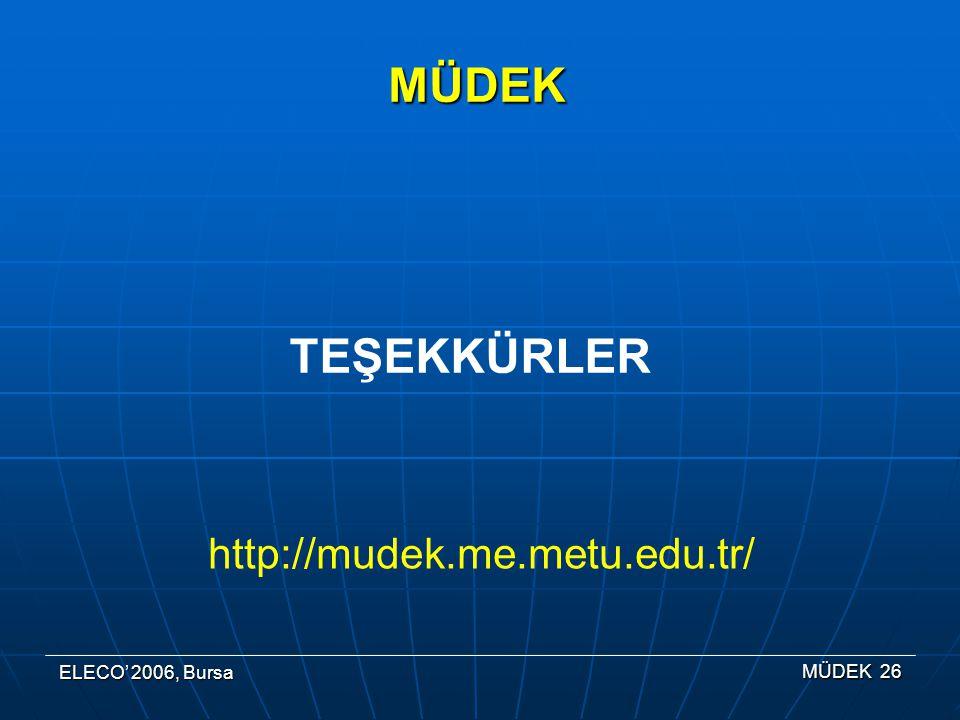 ELECO' 2006, Bursa MÜDEK 26 MÜDEK http://mudek.me.metu.edu.tr/ TEŞEKKÜRLER