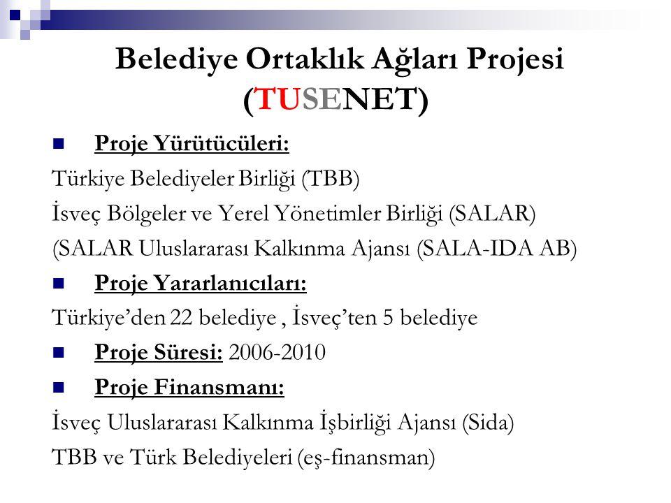 Belediye Ortaklık Ağları Projesi (TUSENET) Proje Yürütücüleri: Türkiye Belediyeler Birliği (TBB) İsveç Bölgeler ve Yerel Yönetimler Birliği (SALAR) (SALAR Uluslararası Kalkınma Ajansı (SALA-IDA AB) Proje Yararlanıcıları: Türkiye'den 22 belediye, İsveç'ten 5 belediye Proje Süresi: 2006-2010 Proje Finansmanı: İsveç Uluslararası Kalkınma İşbirliği Ajansı (Sida) TBB ve Türk Belediyeleri (eş-finansman)
