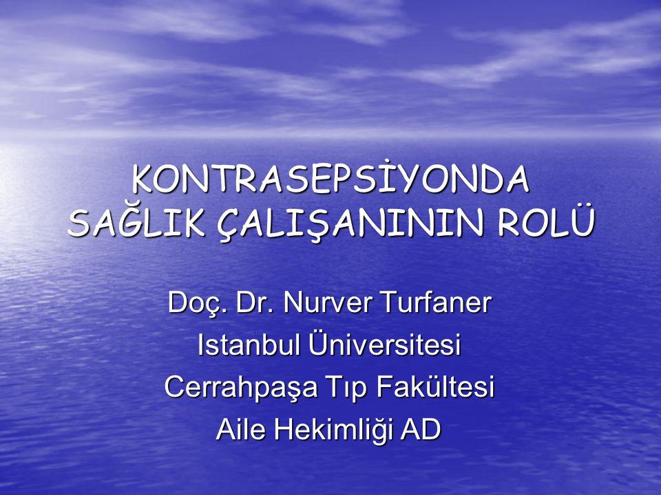 KONTRASEPSİYONDA SAĞLIK ÇALIŞANININ ROLÜ Doç. Dr. Nurver Turfaner Istanbul Üniversitesi Cerrahpaşa Tıp Fakültesi Aile Hekimliği AD