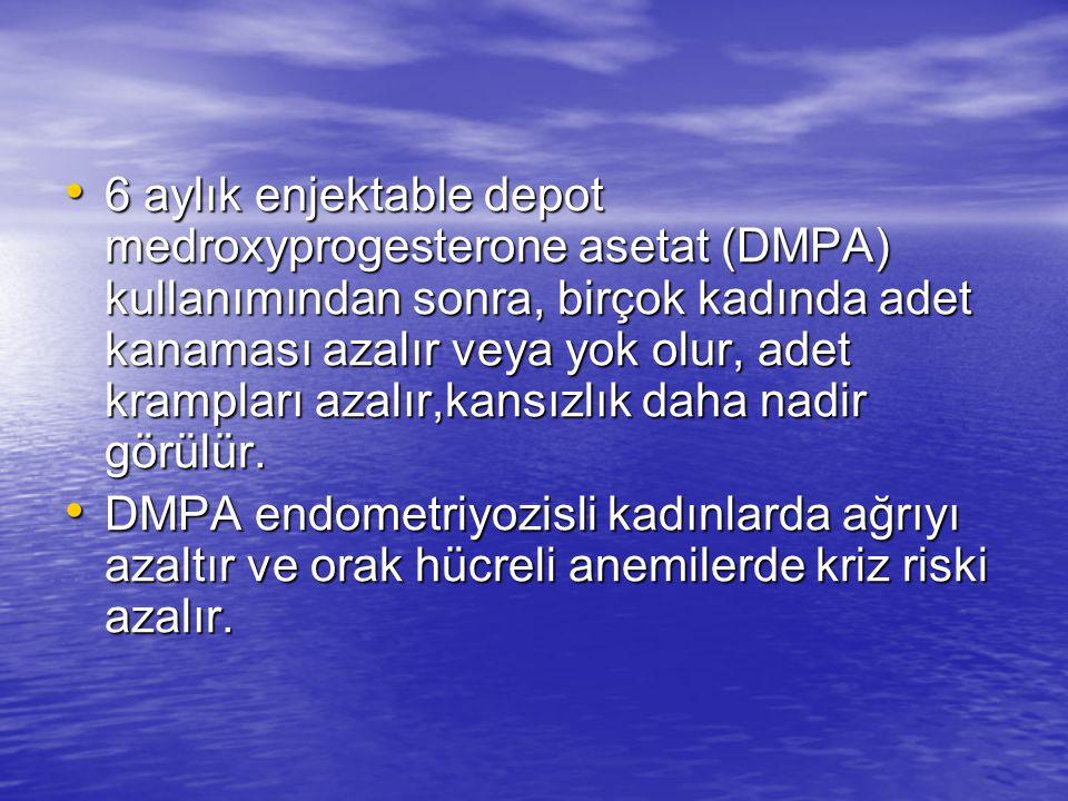 6 aylık enjektable depot medroxyprogesterone asetat (DMPA) kullanımından sonra, birçok kadında adet kanaması azalır veya yok olur, adet krampları azal