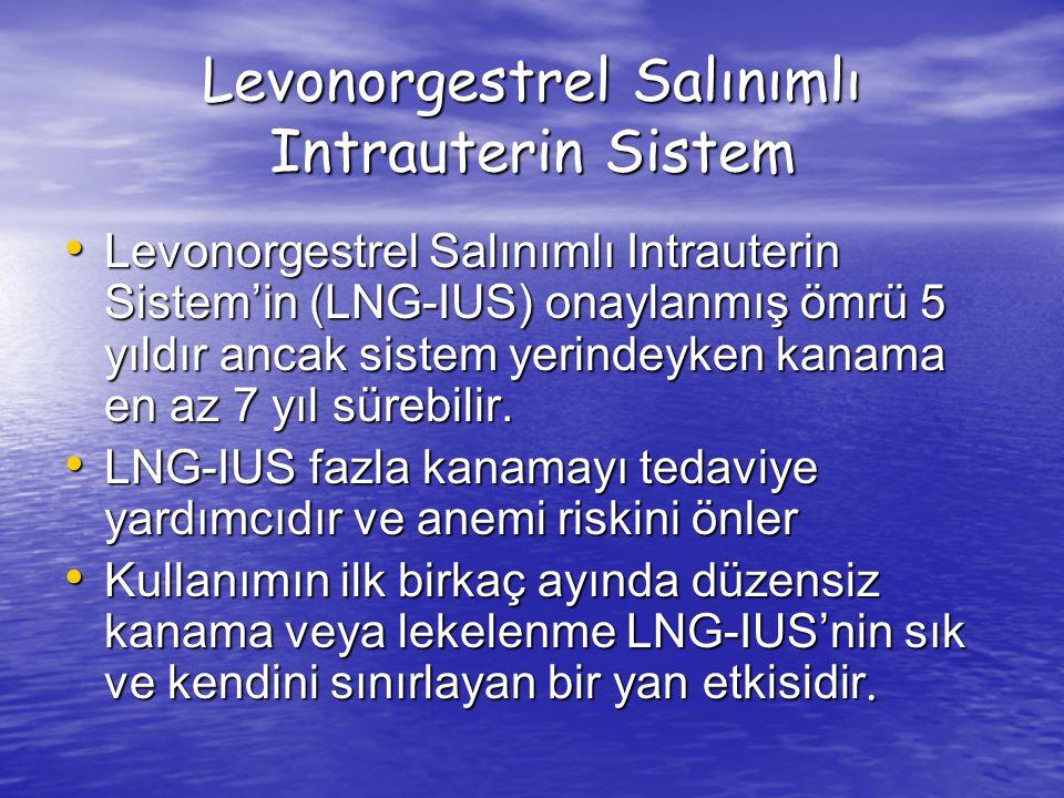 Levonorgestrel Salınımlı Intrauterin Sistem Levonorgestrel Salınımlı Intrauterin Sistem'in (LNG-IUS) onaylanmış ömrü 5 yıldır ancak sistem yerindeyken