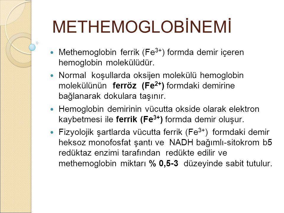 METHEMOGLOBİNEMİ Methemoglobin ferrik (Fe 3+ ) formda demir içeren hemoglobin molekülüdür.