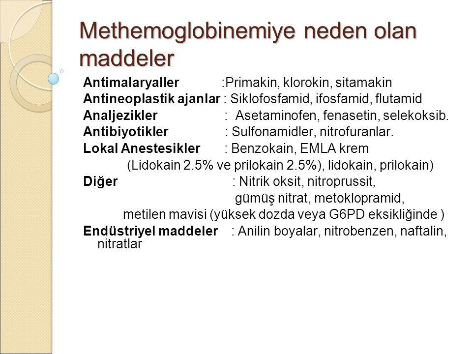Methemoglobinemiye neden olan maddeler Antimalaryaller :Primakin, klorokin, sitamakin Antineoplastik ajanlar : Siklofosfamid, ifosfamid, flutamid Analjezikler : Asetaminofen, fenasetin, selekoksib.
