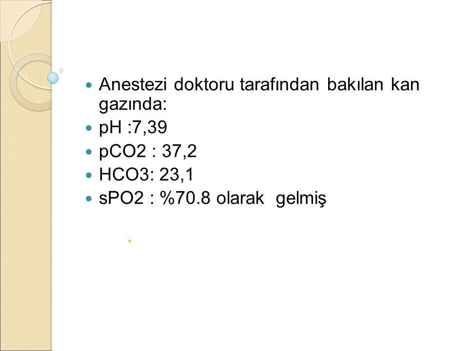 Anestezi doktoru tarafından bakılan kan gazında: pH :7,39 pCO2 : 37,2 HCO3: 23,1 sPO2 : %70.8 olarak gelmiş 