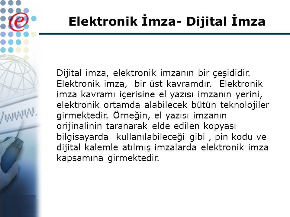 Elektronik İmza- Dijital İmza Dijital imza, elektronik imzanın bir çeşididir.