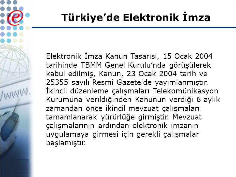 Türkiye'de Elektronik İmza Elektronik İmza Kanun Tasarısı, 15 Ocak 2004 tarihinde TBMM Genel Kurulu'nda görüşülerek kabul edilmiş, Kanun, 23 Ocak 2004 tarih ve 25355 sayılı Resmi Gazete de yayımlanmıştır.
