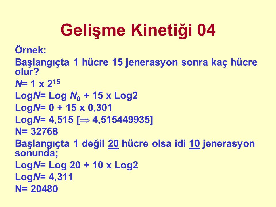 Gelişme Kinetiği 04 Örnek: Başlangıçta 1 hücre 15 jenerasyon sonra kaç hücre olur.