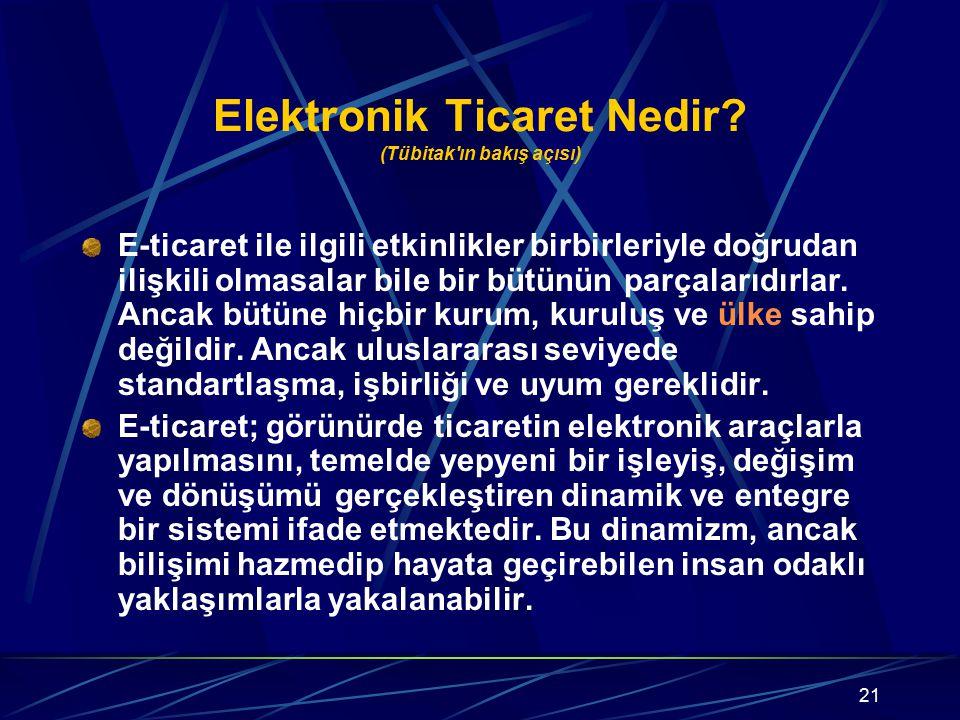 21 Elektronik Ticaret Nedir? (Tübitak'ın bakış açısı) E-ticaret ile ilgili etkinlikler birbirleriyle doğrudan ilişkili olmasalar bile bir bütünün parç