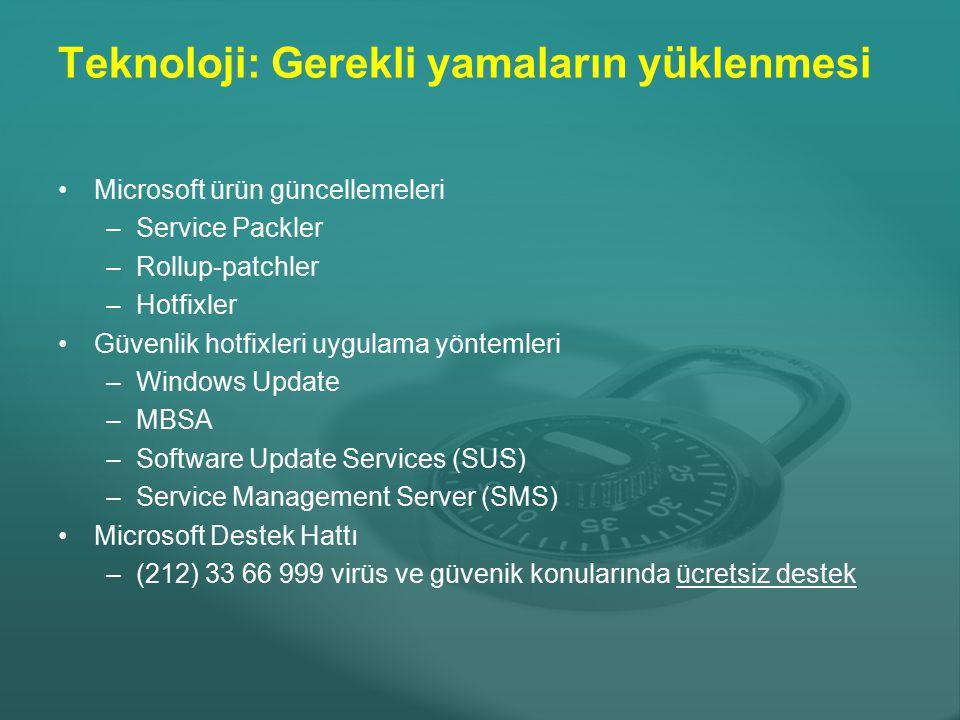 Teknoloji: Gerekli yamaların yüklenmesi Microsoft ürün güncellemeleri –Service Packler –Rollup-patchler –Hotfixler Güvenlik hotfixleri uygulama yöntem