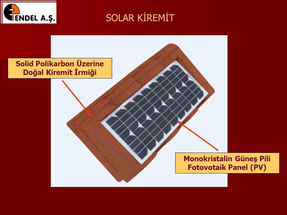 SOLAR KİREMİT Solid Polikarbon Üzerine Doğal Kiremit İrmiği Monokristalin Güneş Pili Fotovotaik Panel (PV)
