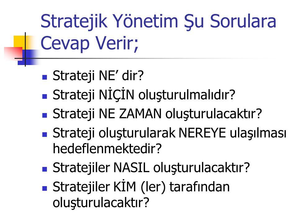 Stratejik Yönetim Şu Sorulara Cevap Verir; Strateji NE' dir? Strateji NİÇİN oluşturulmalıdır? Strateji NE ZAMAN oluşturulacaktır? Strateji oluşturular