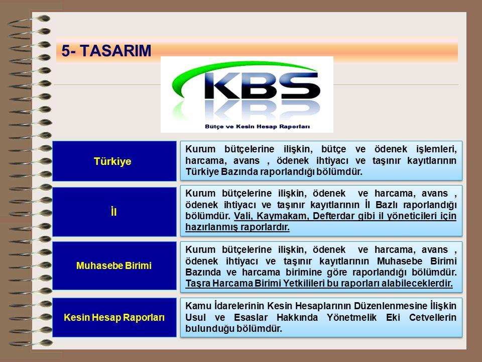 5- TASARIM Türkiye Kurum bütçelerine ilişkin, bütçe ve ödenek işlemleri, harcama, avans, ödenek ihtiyacı ve taşınır kayıtlarının Türkiye Bazında rapor