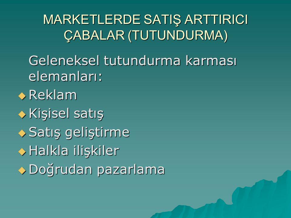 MARKETLERDE SATIŞ ARTTIRICI ÇABALAR (TUTUNDURMA) Geleneksel tutundurma karması elemanları:  Reklam  Kişisel satış  Satış geliştirme  Halkla ilişki