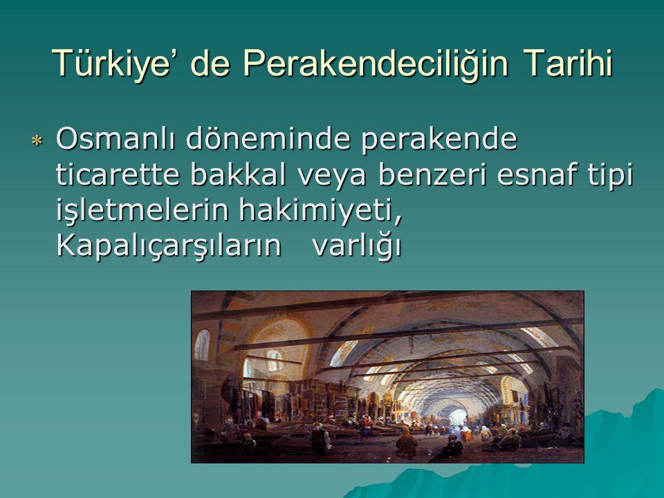 Türkiye' de Perakendeciliğin Tarihi  Cumhuriyet döneminin başlangıcında geleneksel bakkal tipi alışveriş düzeninin yanında semt ya da mahalle pazarlarından alışveriş,