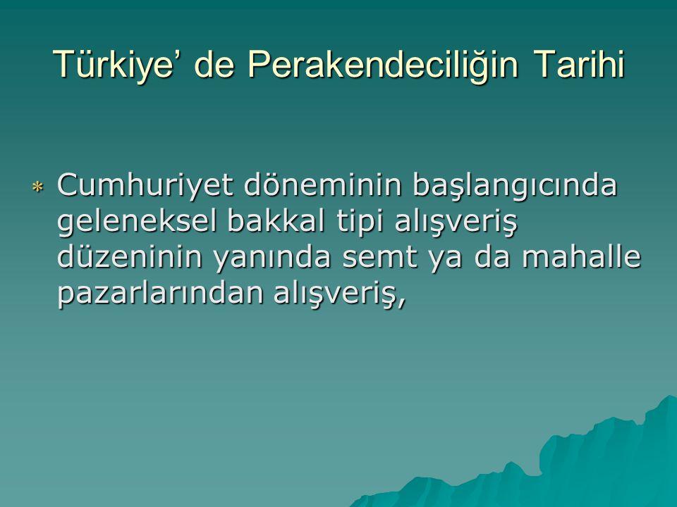 Türkiye' de Perakendeciliğin Tarihi  1950'li yıllarda gelişmiş ülkelerdeki perakende ticaret düzeninden etkilenme; İsviçre Migros' un gelişi, ardından 1956'da GİMA' nın kuruluşu  1970' li yıllarda belediyelerce kurulan tanzim satış mağazaları  Çok katlı mağazaların kurulmaya ve şubeler açmaya başlaması